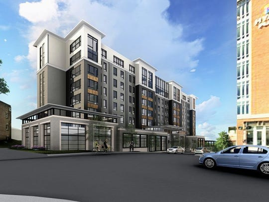 A rendering of the planned eight-story Embassy Suites hotel in downtown Asheville.
