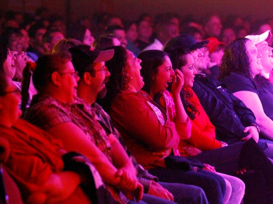 The crowd reacts to comedians performing during Gabriel Iglesias Stand Up Revolution Tour. Four other comedians opened for Iglesias including Martin Moreno, Shaun Latham, Alfred Robles and Rick Gutierrez.