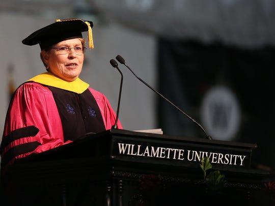 Willamette University commencement speaker Jane Lubchenco addresses the audience on Sunday, May 17, 2015, in Salem, Ore.