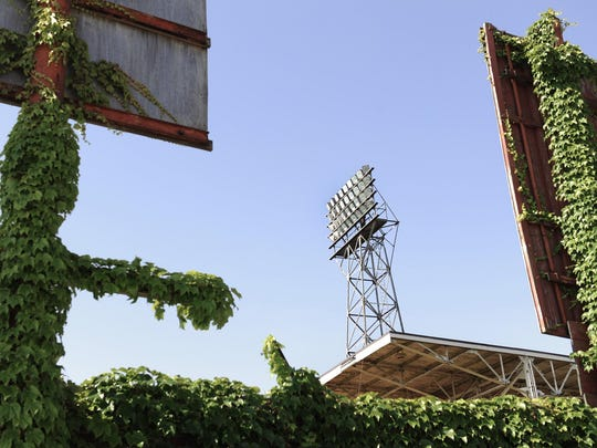 Ivy took over the exterior structure of Bush Stadium, 1501 W. 16th St., in a 2011 photo. In its heyday, the stadium (then called Perry Stadium) inspired Wrigley Field's ivy.