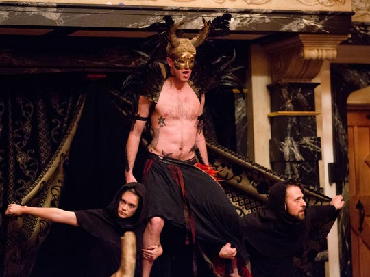 """Chris Johnston as Ariel with Lauren Ballard and Chad Bradford in """"The Tempest."""" Johnston is the Music Director and Bandleader in """"Bloody Bloody Andrew Jackson,"""" Feste in """"Twelfth Night"""" and King Henry in """"The Rise of Queen Margaret."""""""