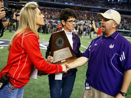 Mason High School head coach Kade Burns led the Punchers to the state runner-up trophy in the Class 2A Division I state championship game at AT&T Stadium in Arlington in 2014.