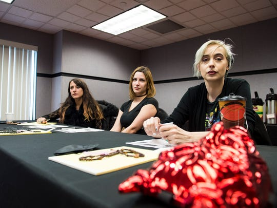 From right, Jayme Meregith, Dawn Shaffer and Kristin Koefoed listen during a casting session for a new ghost investigation reality TV show in Gettysburg. The pilot episode of the series, which features an all-female cast, will be filmed at the Gettysburg Dime Museum.