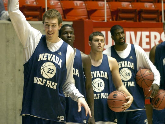 Nick Fazekas, left, is still waiting for his jersey number to be retired.