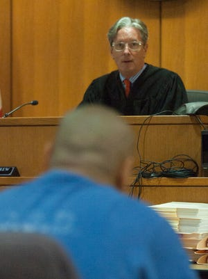 Ventura County Superior Court Judge Kent Kellegrew speaks to Joseph Salas during a 2017 hearing to determine if he should be included on an injunction against the Southside Chiques gang.