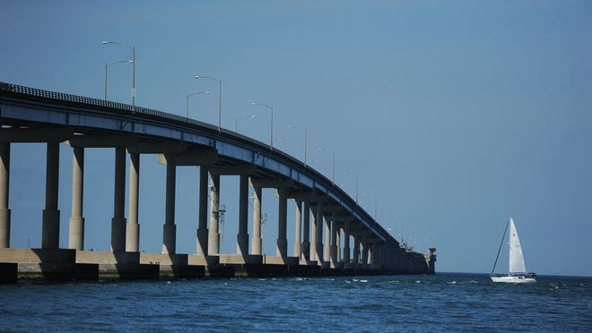 The Chesapeake Bay Bridge-Tunnel is shown. A Norfolk man thought he was going out on his raft for just a few minutes on the Chesapeake Bay on Saturday, but a few minutes turned into 24 hours.