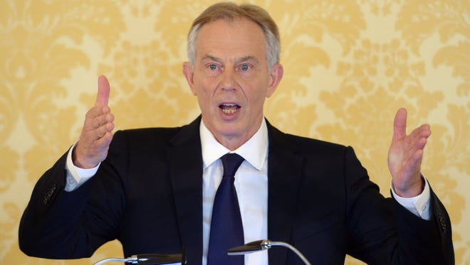 Former Prime Minister Tony Blair holds a press conference in London on July 6.