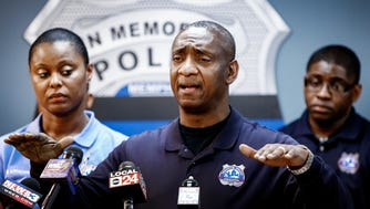 Memphis Police Association President Michael Williams expresses concerns about the privately funded $6.1 million grant to the city of Memphis directed at the  recruitment and retention of police officers, during a press conference at the association's headquarters.