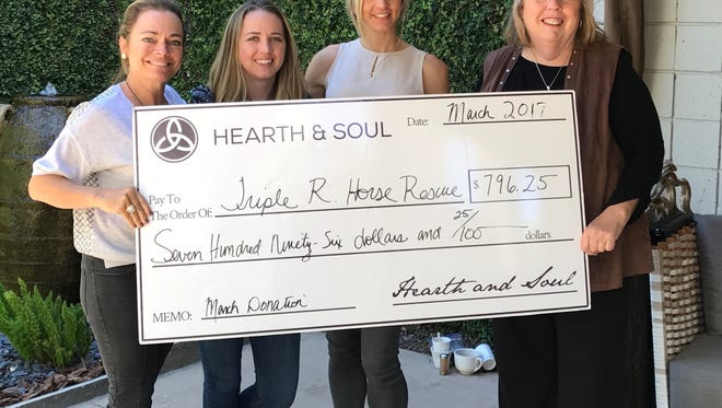 Local business Hearth & Soul recently made a donation to Triple R Horse Rescue.