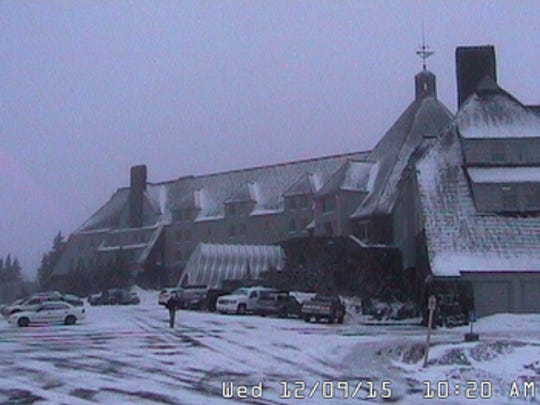 Snow could arrive at Timberline Lodge this weekend, as snow is possible in Oregon's mountains.