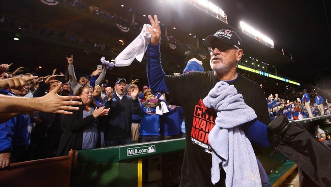 Manager Joe Maddon has led the Cubs to the NLCS in his first season at the helm.