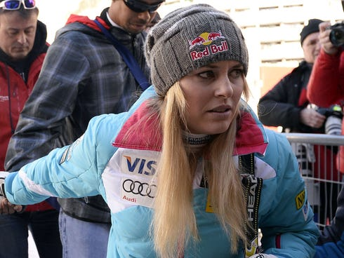Lindsey Vonn after competing in the women's downhill race at the FIS Alpine Skiing World Cup on Dec. 21.