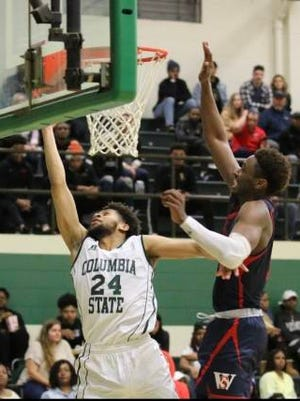Jayden Lockett gets ahead of a Walters State defender for two of his game-high 22 points Saturday as Columbia State advanced in the TCCAA/Region VII Tournament with an 82-75 quarterfinal victory.