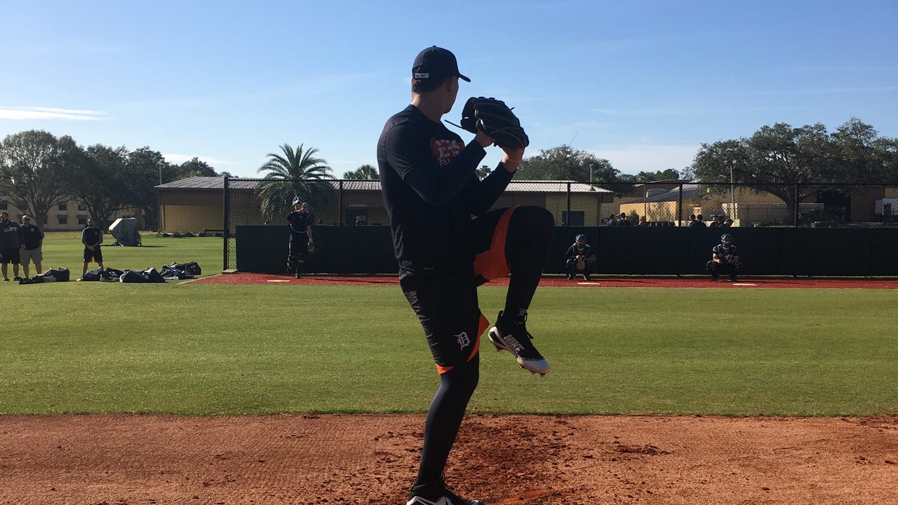 Detroit Tigers top prospect Franklin Perez, acquired in the Justin Verlander trade, got some early work in at TigerTown in early February.