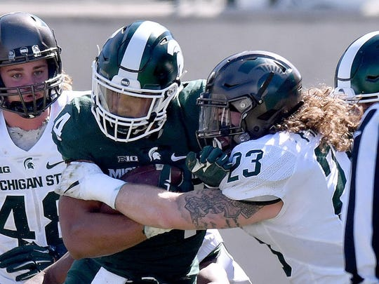 Linebacker Chris Frey (23) is one of two full-time captains selected by the Michigan State football team.