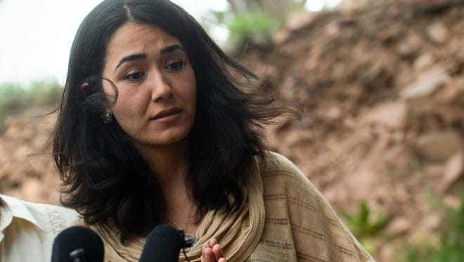 Sitora Yusufiy, the ex-wife of Orlando shooting suspect Omar Mateen, gives a statement to the media at her home outside Boulder, Colo. on Sunday, June 12, 2016.