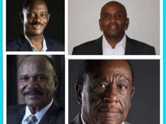 "Senate District 26 candidates, clockwise. Incumbent Sen. David Burkette, Republican Darrell ""DJ"" Johnson, Montgomery Councilman Fred Bell and Rep. John Knight"