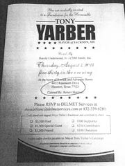 Tony Yarber fundraiser flyer