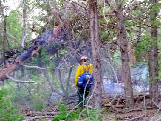 Mescalero firefighters battle fallen trees and underbrush to reach the Goat Canyon Fire.