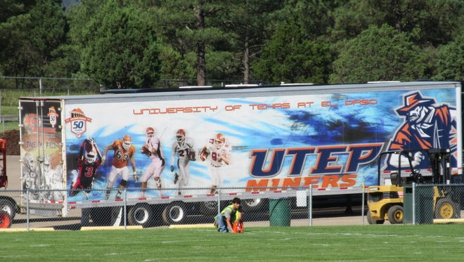 A trailer stuffed with University of Texas at El Paso football gear arrives in Ruidoso at the White Mountain Sports Field Complex. The public is invited to attend a free community barbecue at the MCM Elegante at 4:30 p.m., Sunday, for a chance to meet the 2016 UTEP Miners football team and coaches.