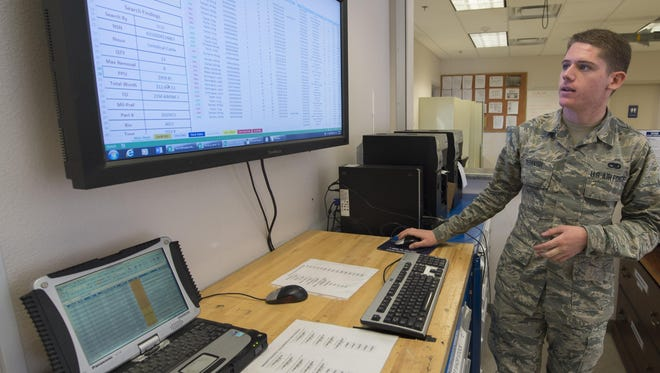 Airman Phillip Tashash, a 49th Maintenance Squadron munitions specialist, does an inventory transaction using the Automated Supply Accountability Program, Jan. 9, 2017, at Holloman Air Force Base, N.M. The ASAP is a new program that Holloman's AMMO flight uses to track quantity and prices of assets. Tashash created the program, which allows personnel to perform accurate transactions in 10 seconds, rather than five minutes with the old system.