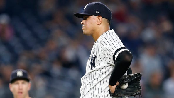 New York Yankees relief pitcher Dellin Betances reacts