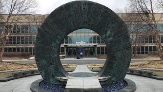 A sculpture in front of the Toys R Us headquarters on Geoffrey Way in Wayne.