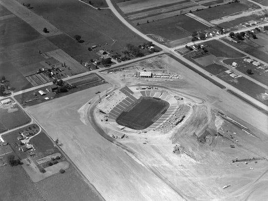 Green Bay City Stadium, which later became Lambeau Field, under construction in 1956 or 1957.