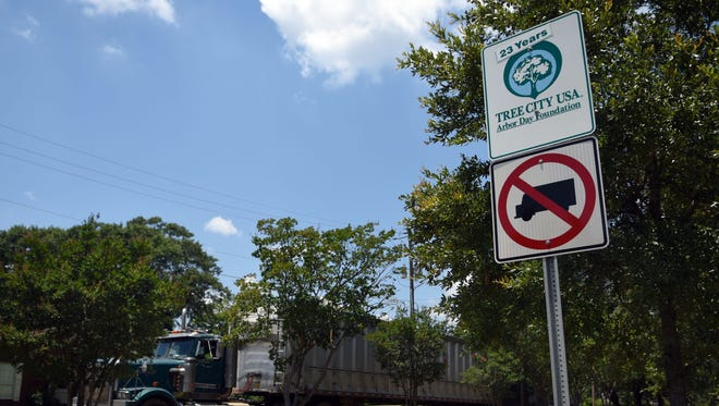 Truck signs are located in areas of downtown Hattiesburg to keep 18-wheelers and large trucks from entering.