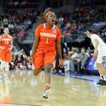 Syracuse Orange guard Alexis Peterson (1) celebrates