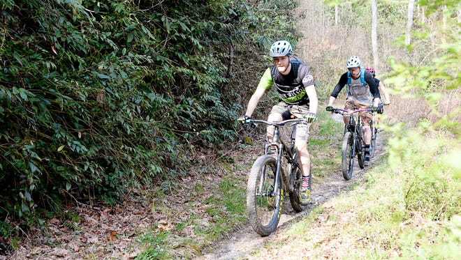 Mountain bikers ride on the Davidson River Trail on the Pisgah National Forest outside Brevard April 3.
