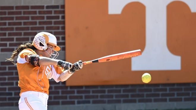 Tennessee's Meghan Gregg (55) hits an RBI single against Florida State during a super regional game at Lee Stadium on Friday, May 22, 2015 in Knoxville, Tenn. (ADAM LAU/NEWS SENTINEL)