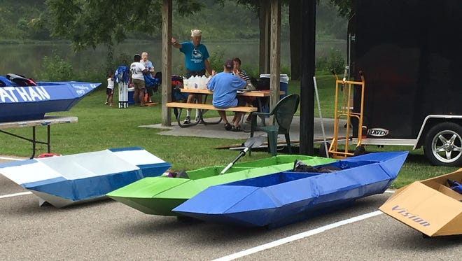 Cardboard boats ready for competition at the Rotary Bluewater River Regatta in Monticello. This year's races will be held on July 29.
