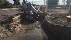 A driver was taken to a trauma center after driving an SUV into a canal in Surprise no March 26, 2015.