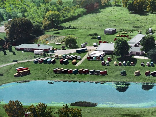 A circa-early-1980's aerial view of Zahm Trailer Sales
