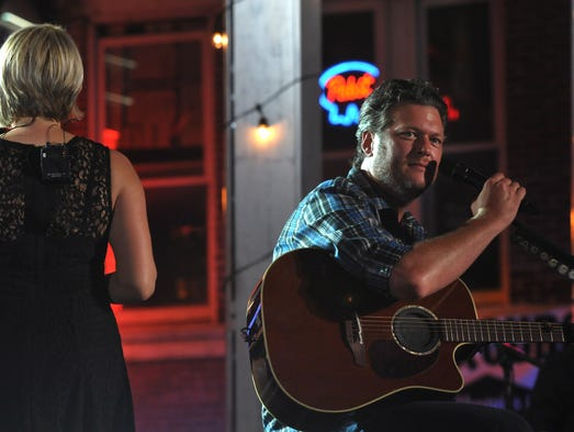 Blake Shelton rehearses downtown for the CMT Music Awards on Tuesday, June 3, 2014, in Nashville.