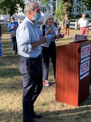 U.S. Sen. Edward Markey campaigns for state Sen. Susan Moran, right, on Saturday at the Falmouth Village Green.