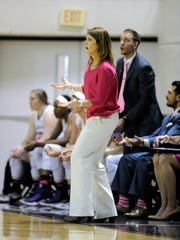 Abilene Christian head coach Julie Goodenough reacts to a call by an official during the second quarter of the Wildcats' 72-64 win on Wednesday, Feb. 22, 2017, at ACU's Moody Coliseum.