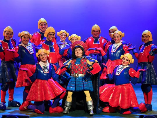 """In the center is Christopher Rye as """"Lord Farquaad"""". Dreamworks """"Shrek The Musical"""" will be presented at the Titusville Playhouse August 18-Sept.10. For tickets, call (321) 268-1125 ir visit www.TitusvillePlayhouse.com."""