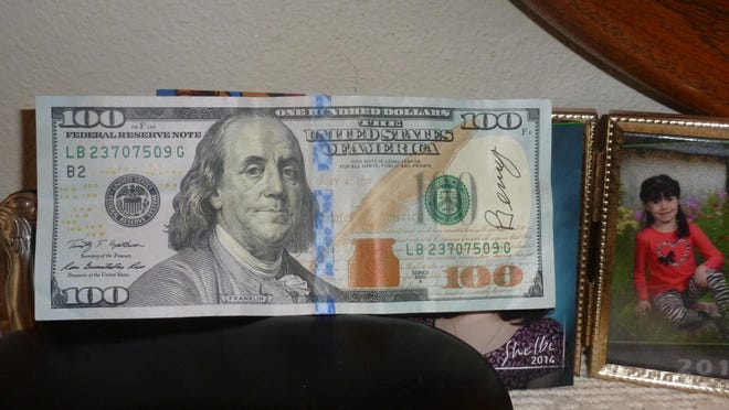 This $100 bill signed by Benny was found by 7-year-old Shelbi Freydl in finger paints she purchased at the Fred Meyer on Lancaster Drive NE for a school art project. She decided to pay it forward and donate it to Doernbecher Children's Hospital.