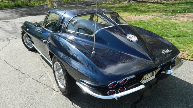 A 1963 split-window midnight blue Corvette, a single year model run, in mint condition, owned by Chatham Borough Administrator Robert Falzarano.