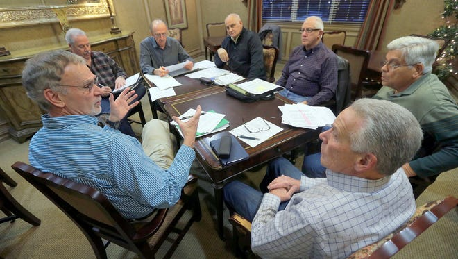 Gathered together at the Equestra clubhouse in Howell Township Thursday evening, January 14, 2016, a group of residents have formed a committee to fight back against increasing property taxes. They are (clockwise l-r): Jack Sillup, John Goodwin, Adam Seyhan, Richard Nocerino, Les Spindel, Frank DeSanto and Elliot Bass.