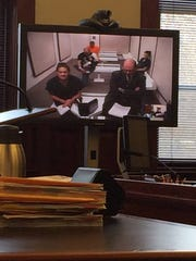 Maria Sandoval makes her initial court appearance via video in Cascade County District Court Tuesday afternoon.