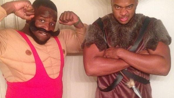 Mississippi State defensive ends A.J. Jefferson (left) and Ryan Brown dressed up for the team's midnight lift on Friday.