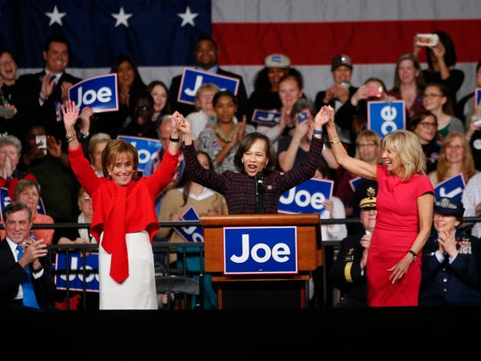 Joe Biden's sister, Valerie Owens Biden (left) is called to the podium by Rep. Lisa Blunt Rochester (center) with Jill Biden during a ceremony in Wilmington in 2017.
