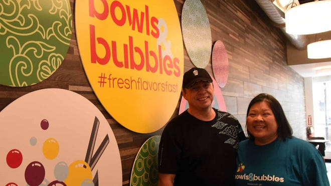 Bowls & Bubbles owners Melissa Yao Hille and Markus Hille.