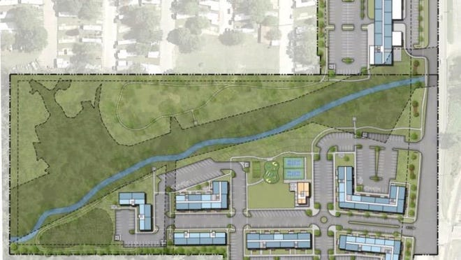 An updated rendering of a multi-use development project on Lakewood Boulevard in Holland Township. The project will offer more than 180 residential units and commercial space.
