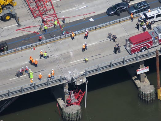 A construction crane collapsed onto the Tappan Zee