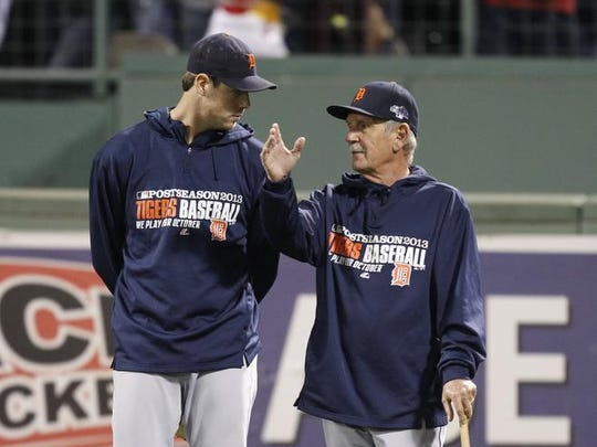 Tigers pitcher Doug Fister with manager Jim Leyland before Game 6 of the ALCS vs. the Red Sox at Fenway Park in Boston on Oct., 19, 2013.