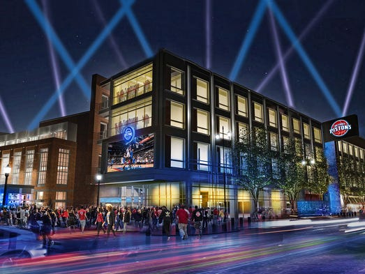Rendering of Little Caesars Arena on Pistons game night